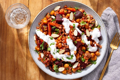 Crispy Chickpea & Barley Bowls with Harissa-Glazed Carrots & Lemon Yogurt