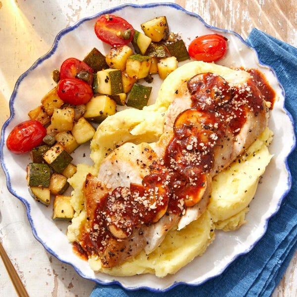 Seared Chicken & Tomato-Mushroom Sauce with Garlic Mashed Potatoes