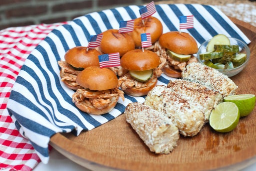 Pulled Chicken Sliders with Homemade Pickles and Mexican-Style Corn