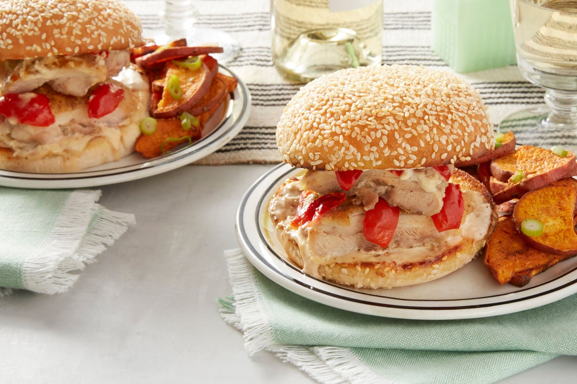 White apron food - Spicy Chicken Sandwiches With Alabama White Sauce Roasted Sweet Potato