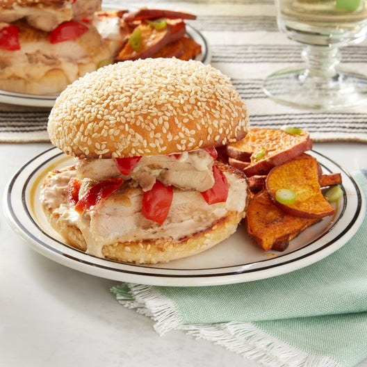 Spicy Chicken Sandwiches with Alabama White Sauce & Roasted Sweet Potato