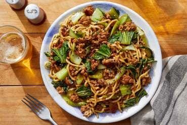 Pork & Vegetable Lo Mein with Furikake