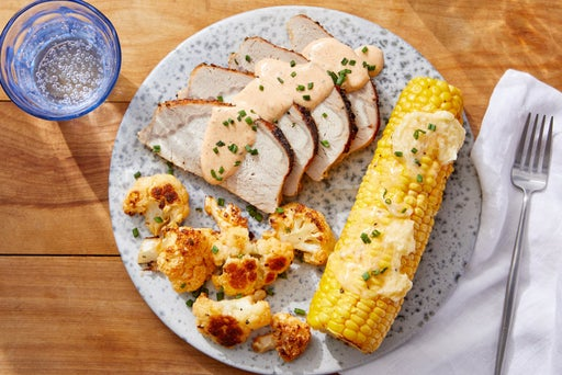Pork Roast & Buffalo-Style Cauliflower with Honey-Butter Corn