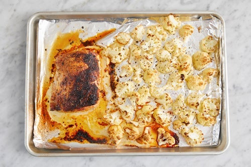 Roast the cauliflower & pork: