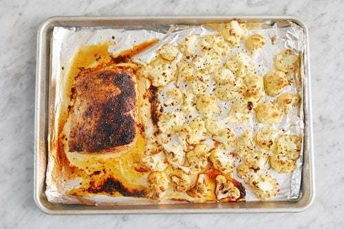 Roast the cauliflower & pork: