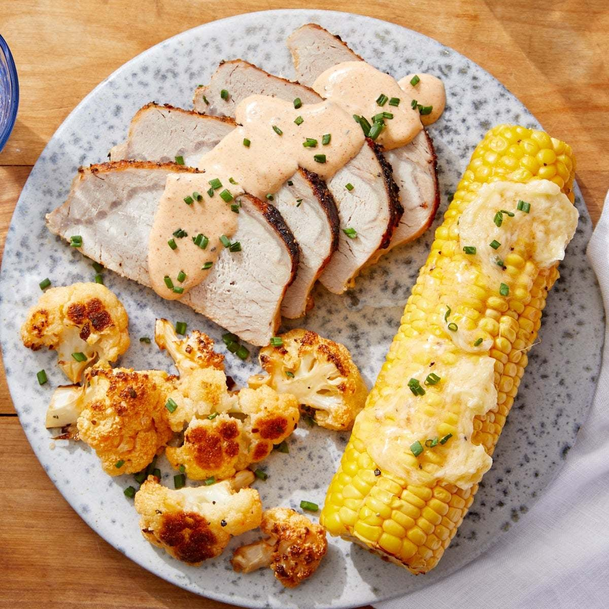 Pork Roast & Buffalo-Style Cauliflower with Honey-Butter Corn