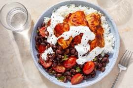 Smoky Wild Alaskan Pollock with Lime Rice & Black Bean-Tomato Salad