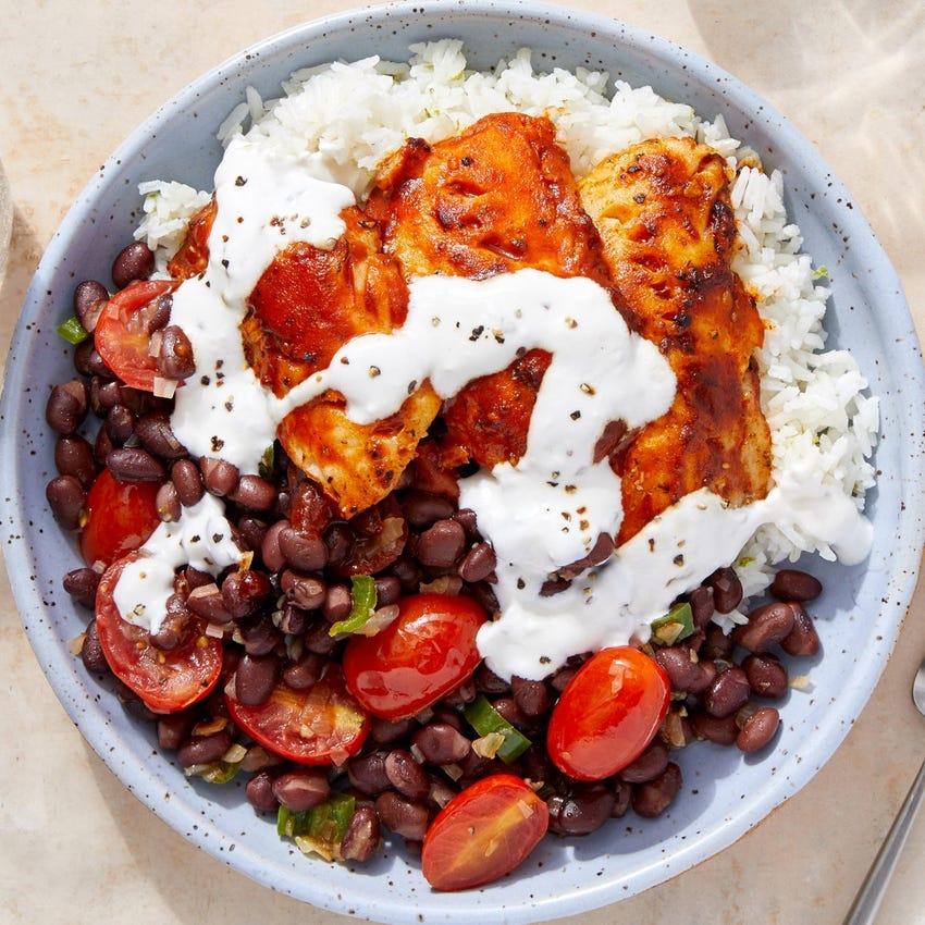Smoky Wild Alaskan Pollock with Lime Rice & Black Bean-Tomato Salad