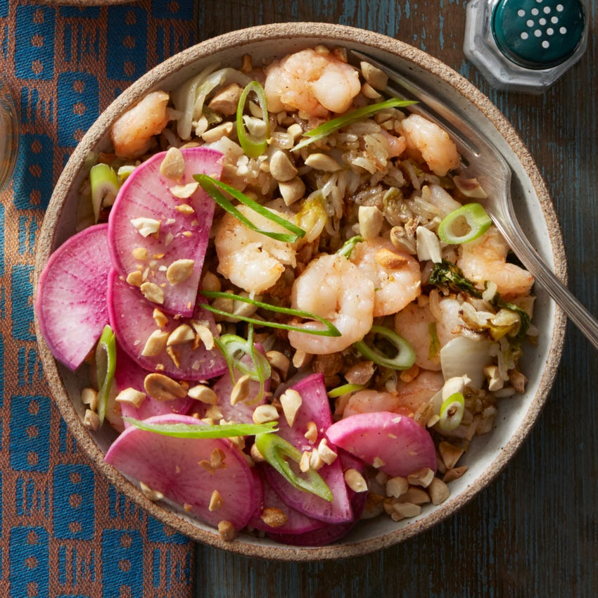Cumin-Sichuan Shrimp Fried Rice with Bird's Eye Chile & Marinated Radish