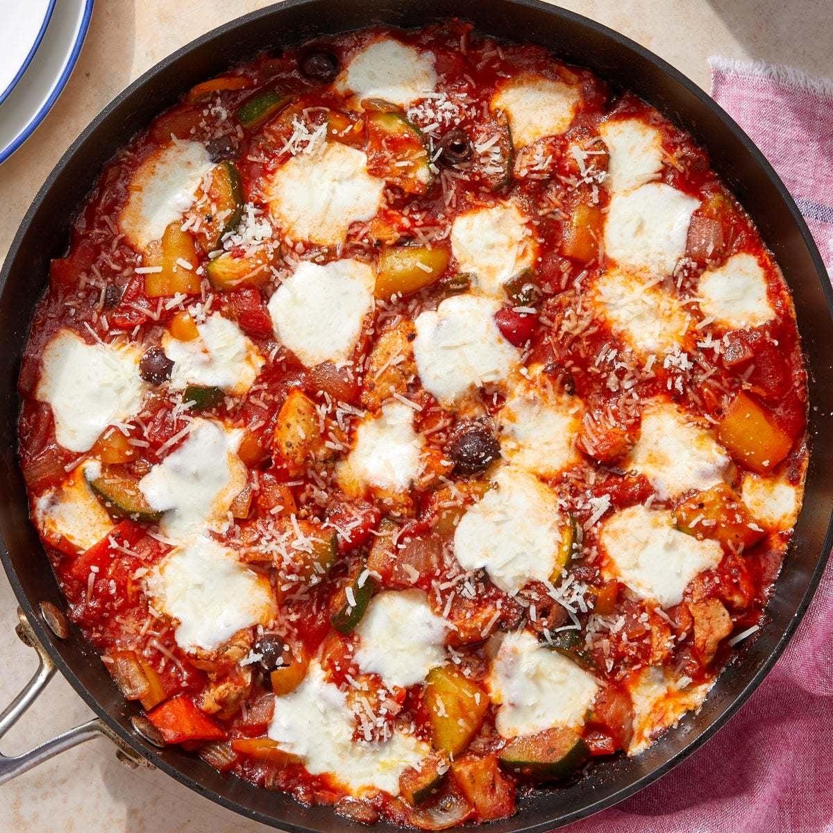 Italian Chicken & Vegetable Skillet with Mozzarella & Grana Padano Cheese