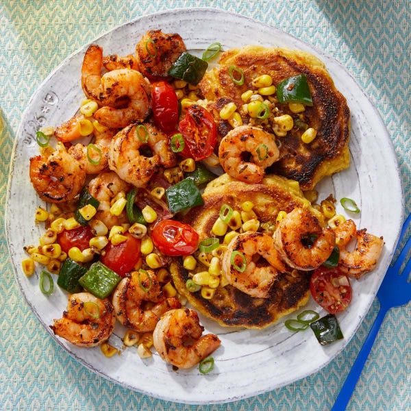 Cajun Shrimp & Corn Pancakes with Sautéed Summer Vegetables