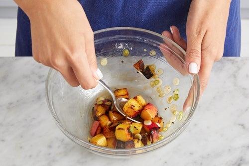 Make the peach salsa & serve your dish: