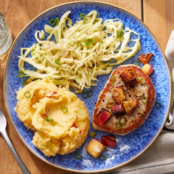 Seared Pork Chops & Peach Salsa with Pimento Cheese Mashed Potatoes