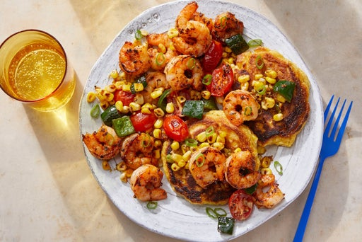 Cajun-Spiced Shrimp & Vegetables over Corn Pancakes