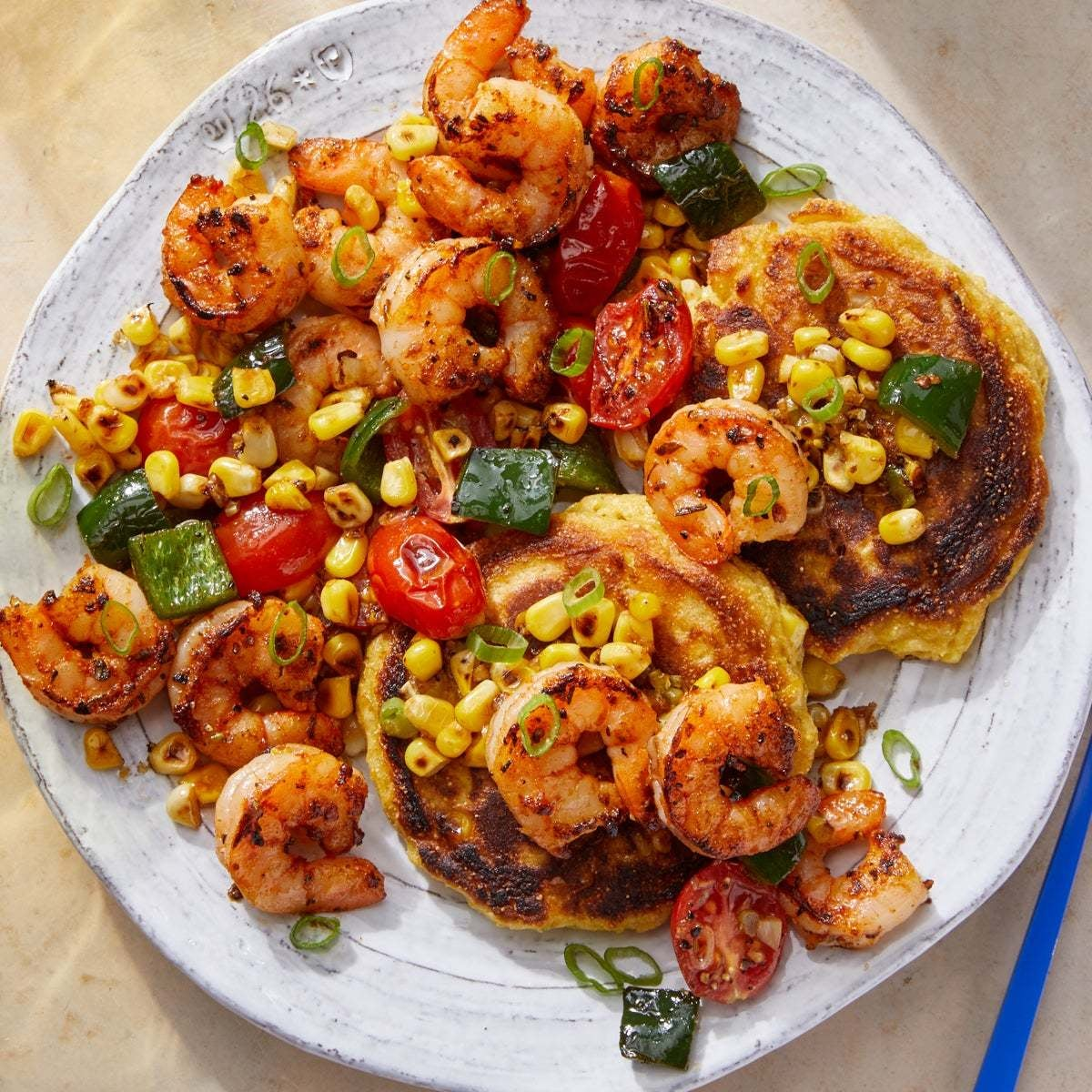 Cajun-Spiced Shrimp & Vegetables over Corn Pancakes