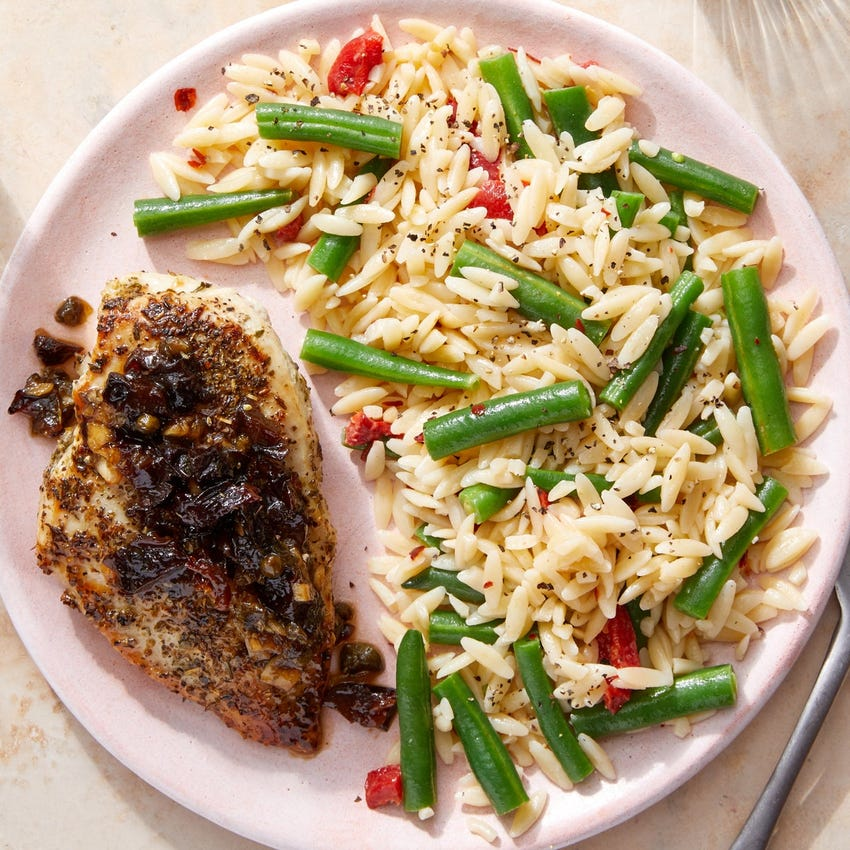 Chicken & Marbella-Style Pan Sauce with Vegetable Orzo