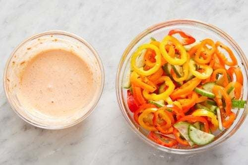 Marinate the vegetables & make the sambal mayo: