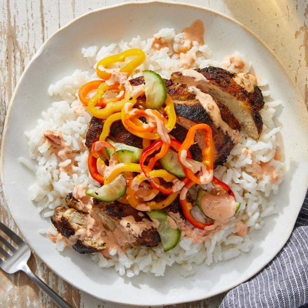 Caribbean-Spiced Chicken Thighs with Coconut Rice & Sambal Mayo