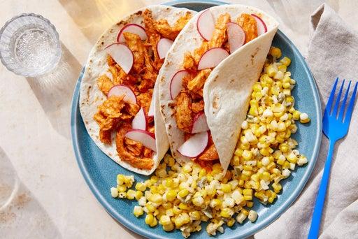 Guajillo Chicken Tacos with Creamy Corn & Jalapeño