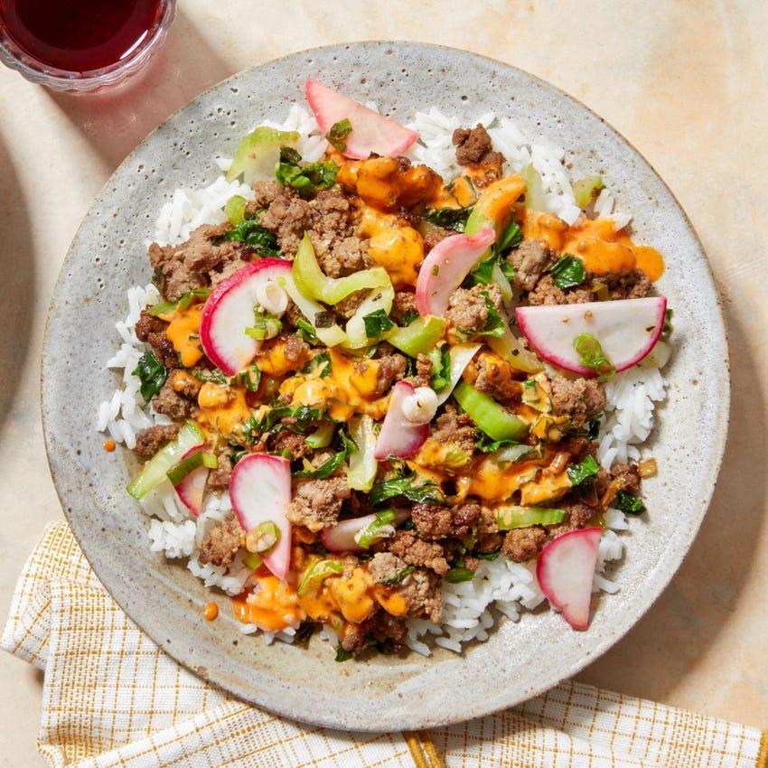 Sautéed Beef & Bok Choy Bowls with Marinated Radishes & Spicy Mayo