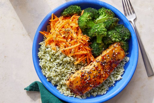 Asian-Style Salmon Bowls with Cilantro Rice & Marinated Carrots