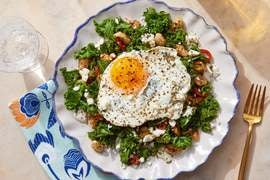 Mediterranean White Bean & Kale Sauté with Fried Eggs & Preserved Lemon Yogurt