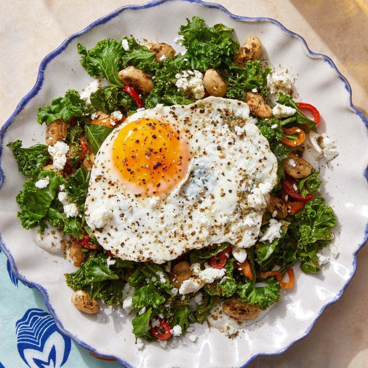 Mediterranean White Bean & Kale Sauté with Fried Eggs & Preserved Lemon Yogurt