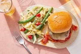 White Cheddar Burgers & Tomato Jam with Green Bean & Cabbage Slaw