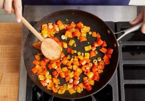 Cook the sweet peppers: