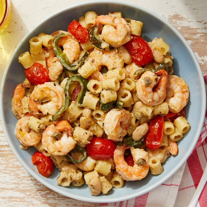 Shrimp & White Bean Pasta with Fresh Tomatoes