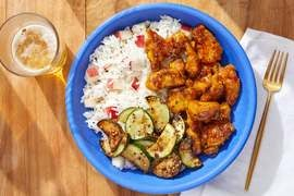 Crispy Curry Chicken with Sautéed Zucchini & Nectarine Rice