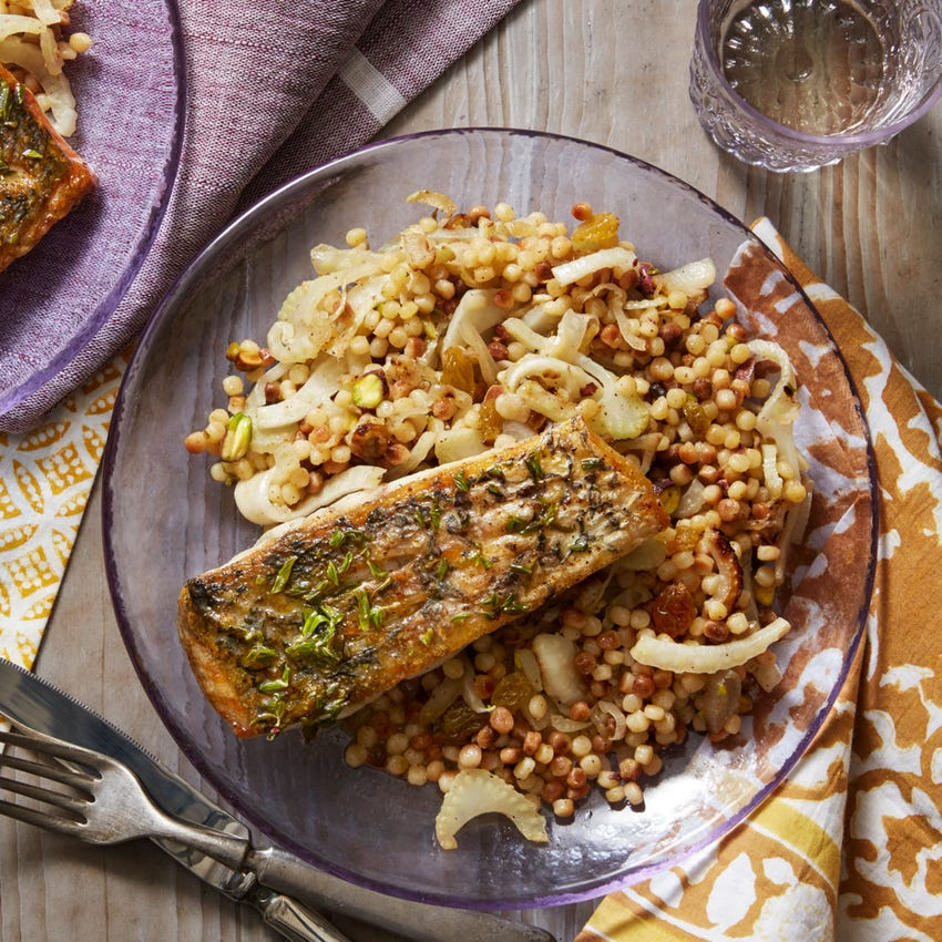 Crispy Barramundi & Fregola Sarda with Fennel, Raisins & Orange