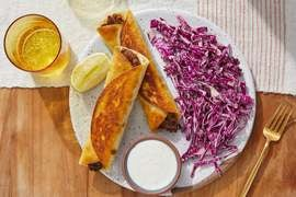 Black Bean & Smoked Gouda Flautas with Tomatillo Sour Cream
