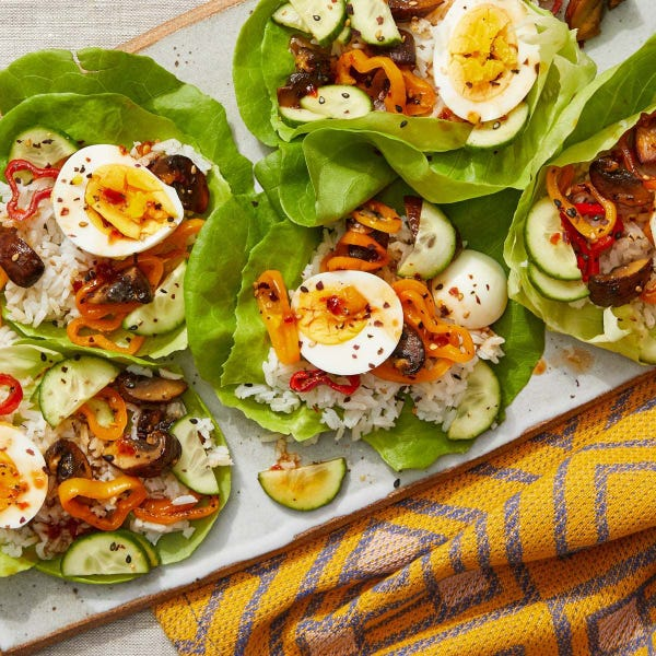 Mushroom  & Pepper Lettuce Cups with Spicy Sesame-Lime Sauce