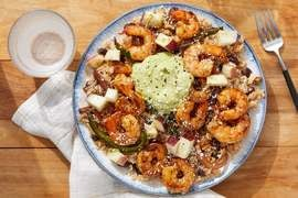 Shrimp & Black Bean Burrito Bowl with Creamy Guacamole & Nectarine Salsa
