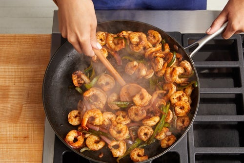 Cook the vegetables & shrimp: