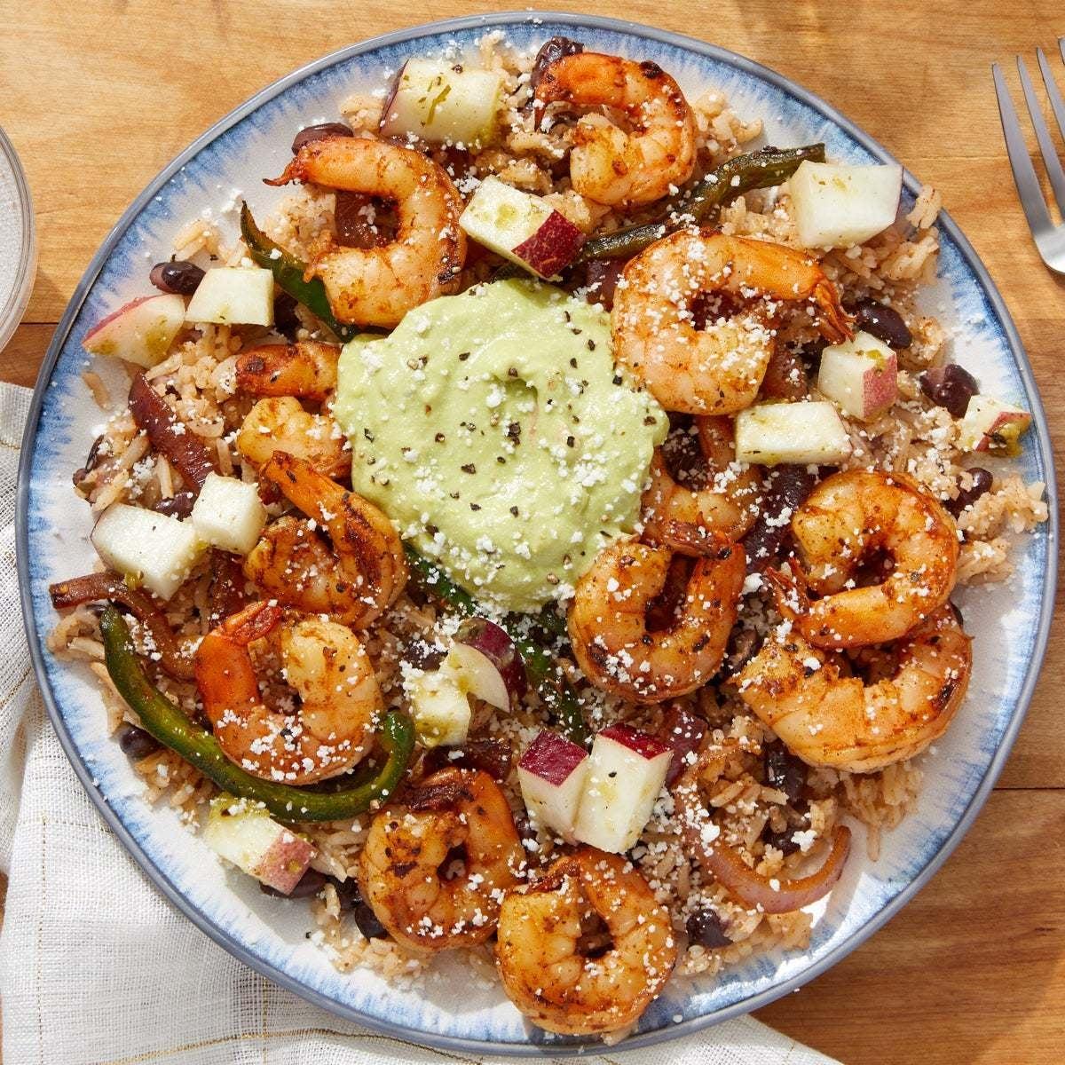 Shrimp & Black Bean Burrito Bowl with Creamy Guacamole & Nectarine Salsa