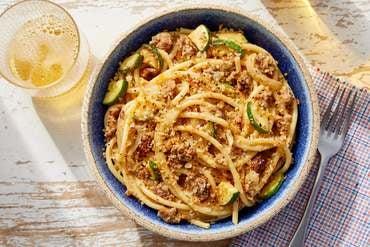 Italian Pork Sausage & Bucatini with Mascarpone & Yellow Tomato Sauce