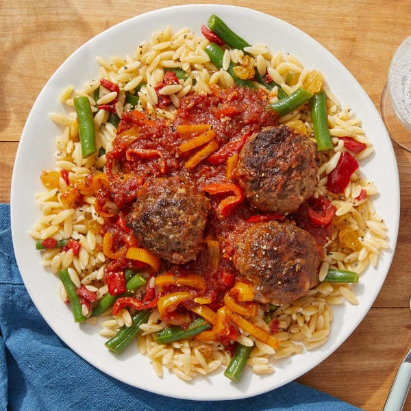 Meatballs & Calabrian Tomato Sauce with Green Beans & Orzo Pasta