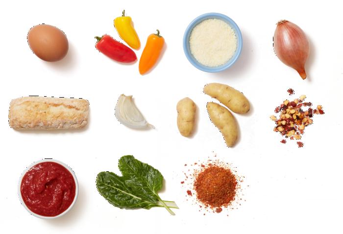 Swiss Chard & Potato Shakshuka with Sweet Peppers & Garlic Toasts