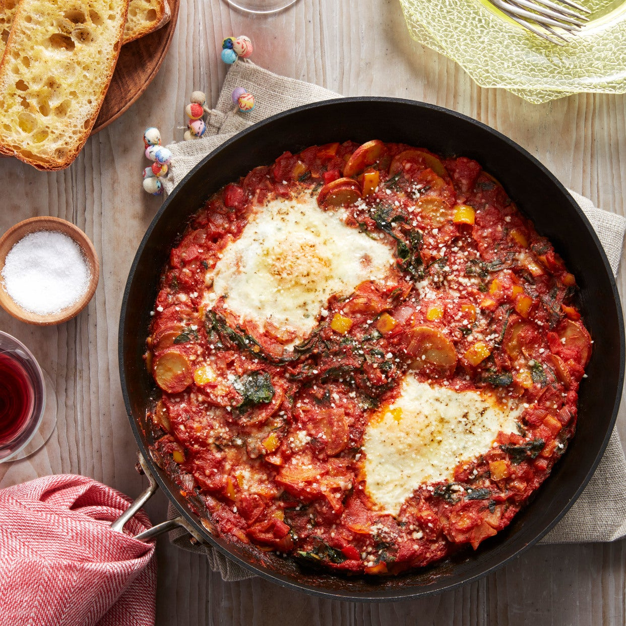 Swiss Chard & Potato Shakshuka with Sweet Peppers & Garlic Toasts