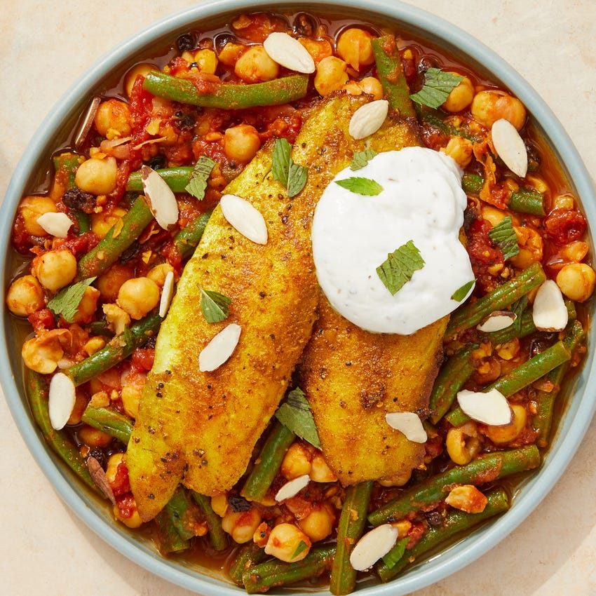 Vadouvan-Spiced Tilapia with Chickpeas, Tomatoes & Green Beans