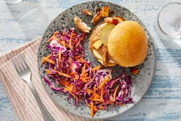 BBQ Chicken Sandwiches with Carrot & Cabbage Coleslaw