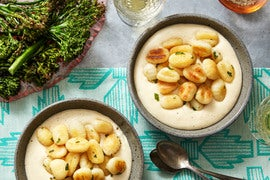 Crispy Gnocchi with Fontina Cheese Sauce & Roasted Broccoli