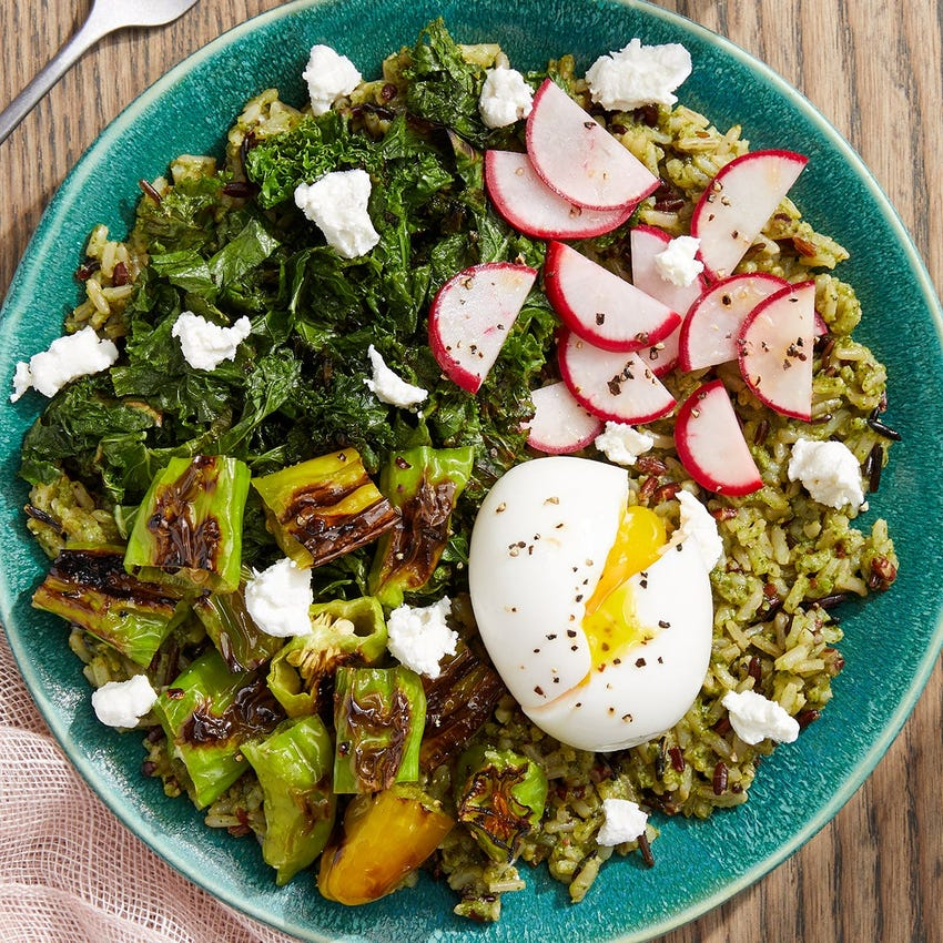 Pesto Red Rice Bowls with Eggs, Kale & Shishito Peppers