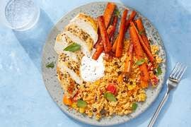 Seared Chicken & Harissa Couscous with Tzatziki & Sautéed Carrots