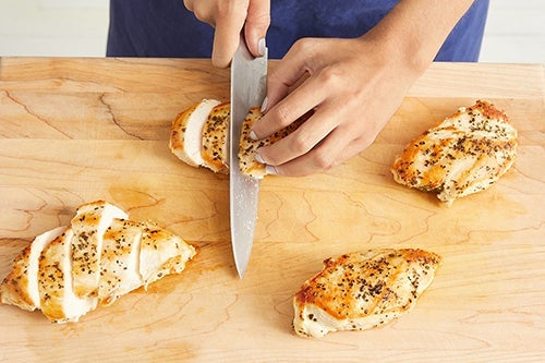 Slice the chicken & serve your dish: