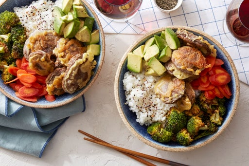 Chirashi-Style Rice Bowls with Tempura Mushrooms & Spicy Pickled Carrots