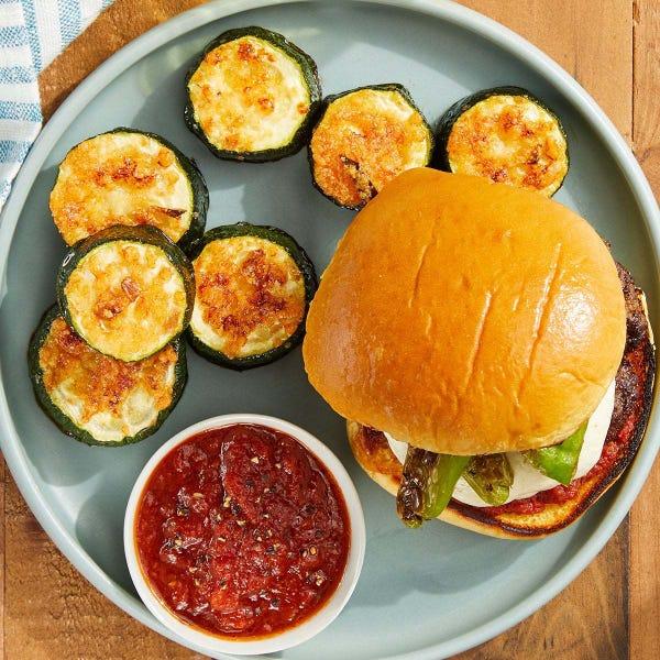 Shishito Pepper & Mozzarella Burgers with Parmesan-Crusted Zucchini & Homemade Ketchup