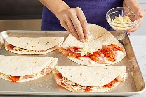 Assemble & bake the quesadillas: